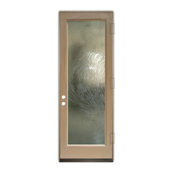Sans Soucie Art Glass (door frame material Plastpro) - Glass Front Entry Door Sans Soucie Art Glass Cast Swirls I, Tan Woodgrain Textur - Sans Soucie Art Glass Front Door with cast glass. Get the privacy you need without blocking light, thru beautiful works of etched glass art by Sans Soucie!  This glass is only semi-obscure (not private).  (Photo is view from outside the home or building.)  Door material will be unfinished, ready for paint or stain.  Bronze Sill, Sweep.  Satin Nickel Hinges. Available in other sizes,  swing directions and door materials.  Tempered Safety Glass.  Cleaning is the same as regular clear glass. Use glass cleaner and a soft cloth.