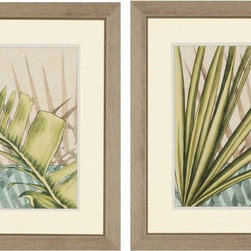 Paragon Decor - Tropical Shade I Set of 2 Artwork - Wafting leaves are matted in ivory patterned mat and framed in distressed silver finish molding.