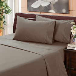 None - Caribou 500 Thread Count Hemstitch Sheet Set - This lovely caribou grey 500 thread count hemstitch sheet set is constructed of 100-percent cotton and features a 15-inch pocket depth on the fitted sheet with a 360-degree wrapped elastic. The pillowcase and flat sheet have a 4-inch cuff.
