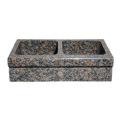 The Allstone Group - KA33DB-H Baltic Brown Polished Kitchen Sink - Natural stone strikes a balance between beauty and function. Each design is hand-hewn from 100% natural stone.  Allstone farmhouse or apron sinks are very versatile.  They can be installed flush, above or below your countertop depending on what you want to achieve.  They are also suitable for waste disposal units or basket strainer waste