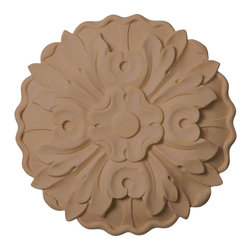 "Ekena Millwork - 6 7/8""W x 6 7/8""H x 1""D, Medium Kent Floral Rosette, Maple - Our rosettes are the perfect accent pieces to cabinetry, furniture, fireplace mantels, ceilings, and more.  Each pattern is carefully crafted after traditional and historical designs.  Each piece is carefully carved and then sanded ready for your paint or stain.  They can install simply with traditional wood glues and finishing nails."