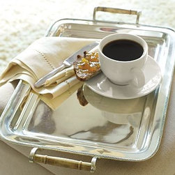 """Silver-Plated Breakfast Tray - Our silver-plated tray's rounded corners and deep, molded edges are reminiscent of English serving pieces. 20"""" wide x 14.5"""" long Creates convenient bedside spot for stowing watches and rings, or use it on the dresser as a platform for perfume bottles. Monogramming is available at an additional charge. Monogram will be centered on the tray. Catalog / Internet only."""