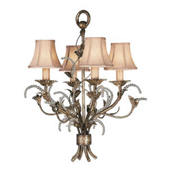 Fine Art Lamps - A Midsummer Nights Dream Chandelier, 163740ST - A leafy bouquet in a silvery moonlit patina with curling tendrils of crystal beads blooms with four romantic candle lights in delicate silk champagne-colored shades. This lush chandelier will cast an aura of enchantment.