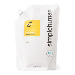 simplehuman - Lemon Liquid Dish Soap Refill Pouch, 34 Fl. Oz. - Economical and ecofriendly, this 34-ounce resealable pouch is a better way to refill your dish soap dispenser. The lemon-scented soap inside contains no phosphates. It's gentle on hands, but will go medieval on some grease.