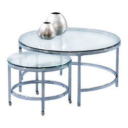 Basett Mirror - Patinoire Round Cocktail on Casters - The Patinoire Round Cocktail Table (Chrome Finish) has the following features:Manufactured by Bassett MirrorPart of the Patinoire CollectionMade of metal and glass in a chrome finishOne of our contemporary and modern-styled cocktail tables that will work in almost any living room Dimensions: 34 x 34 x 18hWeight: 43 lbs.