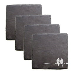 True Fabrications - Lovebird Coaster - This charming lovebird coaster is crafted from slate stone. A delicate design of a lovely pair of birds no doubt whispering sweet nothings to each other is printed on the front. Naturally edged with a velvet backing to protect tabletop surfaces. Printing may vary due to natural edges.