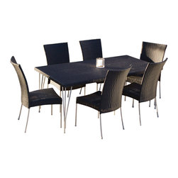 Great Deal Furniture - Tampa 9-piece Outdoor Dining Set - Enjoy your outdoor area with our sleek and classy modern design  Tampa 9-piece Outdoor Dining Set. The Tampa is a perfect dining set for contemporary styled gardens to enjoy a meal outside watching the sunset with your friends and family.