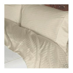 SCALA - 300TC 100% Egyptian Cotton Stripe Beige Short Queen Size Flat Sheet + 2 Pillowca - Redefine your everyday elegance with these luxuriously super soft Flat Sheet . This is 100% Egyptian Cotton Superior quality Flat Sheet that are truly worthy of a classy and elegant  Size 1 Flat Sheet 90 Inch(length) X 102 Inch (width).2 Pillowcase 20 Inch (length) X 30 Inch (width).