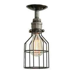 """West Ninth Vintage - Industrial Ceiling Light - Our authentic steel, single cage ceiling light is the perfect combination of industrial style and modern simplicity. Created using authentic steel pipe and heavy duty steel sockets. Cages are constructed with rust resistant zinc plating and a heavy duty 10 gauge vinyl coating with a bronze plated 1.5 inch universal collar. As versatile as it is functional, this fixture can be used in residential, retail or commercial space. The metal cage can be removed, if desired, to switch up the look. Often used with our 4.25"""" ceiling canopy adding finish to the piece.  The bottom of the cage is open to allow for easy bulb changes."""
