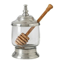 Match Pewter - Honey Jar with Dipper by Match Pewter - Handmade by artisans in northern Italy, and each piece of Match pewter bears a stamped symbol from the region in which it was made.