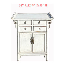 Chinese White Ming Style Nightstand End Table Side Cabinet ...