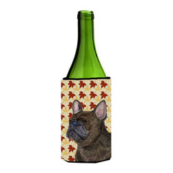 Caroline's Treasures - French Bulldog Fall Leaves Portrait Wine Bottle Koozie Hugger SS4337LITERK - French Bulldog Fall Leaves Portrait Wine Bottle Koozie Hugger SS4337LITERK Fits 750 ml. wine or other beverage bottles. Fits 24 oz. cans or pint bottles. Great collapsible koozie for large cans of beer, Energy Drinks or large Iced Tea beverages. Great to keep track of your beverage and add a bit of flair to a gathering. Wash the hugger in your washing machine. Design will not come off.