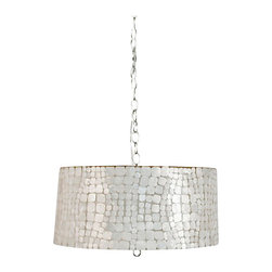 "Capiz Shell Drum Pendant - Croc Small Pendant chandelier - 9"" h x 20""dia Small inlaid capiz drum pendant with internal double socket for 2 60 watt bulbs and a diffuser. Comes with 3' chrome chain and canopy. Also available in 14.5"" h pendant: CROC P Photos show fixture lit and unlit."