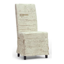 Baxton Studio - Linen Dining Chair - Set of 2 - Set of 2. Modern style. Removable beige linen slipcover with French script print. Wooden frame with black lacquer legs. Non-marking feet. Polyurethane foam cushioning. Spot clean only. Assembly required. Seat: 19.12 in. W x 18.37 in. D x 19.12 in. H. Overall: 23.75 in. W x 19 in. D x 40 in. H (16 lbs.)