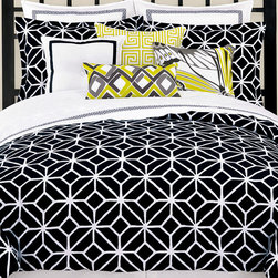 Trellis Comforter Set - Cozy up under this Trellis comforter by Trina Turk! It's a chic way to add a touch of modern flavor to a bedroom.