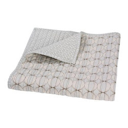 DwellStudio Ovals Gray Quilted Play Blanket - This soft quilted blanket is great as a lap throw, or to cover  a scratchy rug or hardwood floor when little ones are ready to play on the floor.
