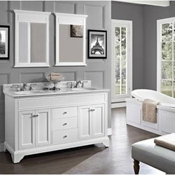 "Fairmont Designs - Fairmont Designs Framingham 60"" Double Bowl Vanity - Polar White - Fairmont Designs is described in two words; quality and beauty. Express your creativity with Fairmont Designs bathroom vanities and bath furniture ensembles. The distinctive families of bath furniture from Fairmont Designs come in styles for every bath. Artistry and elegance are delivered in carefully constructed products built with sustainable materials and sturdy craftsmanship. From petite corner solutions to traditional sized pieces, Fairmont Designs is your choice for exquisite and timeless beauty.Framingham casts a liberated light on traditional styling. With their simple, understated elegance, the cabinets meld memories of the past with demands of today. Flexibility in sizes, finishes and tops expands the decorating possibilities. Consider Vintage Maple with Black hardware for the naturalists; distinctive Polar White with Brushed Nickel finished hardware for the purists. And lots of storage for the practical in all of us. Features Poplar Solids with Maple Veneer 4 Doors, 3 Drawers Hinges: Fully concealed, Soft closing Drawer Box: 1/2"" Solid pine, four sided English dovetail with soft closing glides Hardware: Brushed Nickel Actual cabinet color may vary because each piece is handmade and finished How to handle your counterView Spec Sheet"