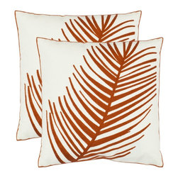 Safavieh - Safavieh Remy Pillow X-2TES-8181-A168LIP - Tropical design takes a modern turn in an artful pillow of 100% cotton with dramatic orange fern leaf  crewel-embroidered on a  cream ground.