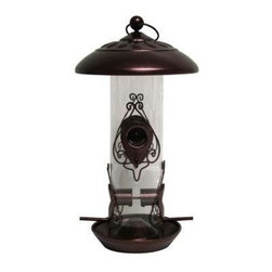 """Heath - Tower Seed Feeder - Tower Seed Feeder """"Giddy Up"""" with hammered copper appearance. Easy to fill. Holds 2lbs of seed. Detail work around each port. Tube constructed of ABS plastic with the frame molded from steel."""