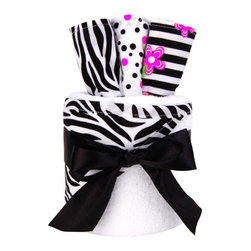 """Trend Lab - Gift Cake - Zahara Hooded Towel - Trend Lab's Zahara Gift Cake is the perfect shower centerpiece and a practical gift for any mom to be. Gift set contains one hooded towel and three wash cloths. Hooded towel is soft white terry with a black and white zebra print throughout the hood and trim. Wash cloths have fun, modern printed cotton on the front with soft white terry on the back. Wash cloth patterns include: one black and white zebra print; one paradise pink and black confetti dot print on a white background; and one black and white stripe print with paradise pink and electric lime floral accents. Hooded towel measures 32"""" x 30"""" and wash cloths measure 8"""" x 8"""". Hooded towel is wrapped around all three wash cloths to resemble a cake with topper and packaged in clear cellophane with ribbon and gift tag. Coordinates with the Zahara collection by Trend Lab."""