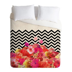 DENY Designs - Bianca Green Chevron Flora 2 Duvet Cover - Turn your basic, boring down comforter into the super stylish focal point of your bedroom. Our Luxe Duvet is made from a heavy-weight luxurious woven polyester with a 50% cotton/50% polyester cream bottom. It also includes a hidden zipper with interior corner ties to secure your comforter. it's comfy, fade-resistant, and custom printed for each and every customer.