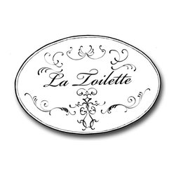 """Stupell Industries - White with Black La Toilette Oval Bath Plaque - Decorative and fuctional. Made in USA. MDF Fiberboard. Original Stupell art. Approx. 11 in. W x 15 in. L. 0.5 in. ThickWhat better way to add class to your bath than with a wall plaque by from """"The Stupell Home decor Collection."""" Whether it is the black and white """"la toilette,"""" the black oval """"powder room,"""" or the rectangle crest """"le bain,"""" one thing stays the same: each plaque is hand finished, made in the USA, and comes with colorful grosgrain ribbon for hanging. Bath plaques from """"The Stupell Home decor Collection"""" are meticulously crafted by a variety of in-house artists and come on ½"""" thick MDF fiberboard."""