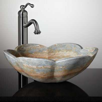 How To Carve A Stone Sink : Fontus Blue Onyx Flower Vessel Sink