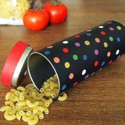 Polka dot kitchen canister - Fun colorful polka dot kitchen storage canister with airtight lid for storing pasta, flour, coffee and sugar or cereals. This tin container is made with original Japanese washi paper.