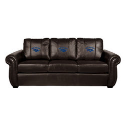 Dreamseat Inc. - University of Nevada NCAA Chesapeake Brown Leather Sofa - Check out this Awesome Sofa. It's the ultimate in traditional styled home leather furniture, and it's one of the coolest things we've ever seen. This is unbelievably comfortable - once you're in it, you won't want to get up. Features a zip-in-zip-out logo panel embroidered with 70,000 stitches. Converts from a solid color to custom-logo furniture in seconds - perfect for a shared or multi-purpose room. Root for several teams? Simply swap the panels out when the seasons change. This is a true statement piece that is perfect for your Man Cave, Game Room, basement or garage.