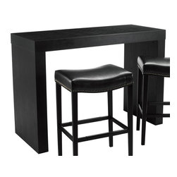 Sunpan Imports - Faro Matte Black Counter Height Table w Panel Ends - Gather round contemporary style. Faro collection counter height table has solid panel ends and a roomy rectangular top for a modern-looking silhouette. Table excels in your kitchen, dining area and elsewhere. A rich matte black finish completes the look. Stools not included. 56 in. L x 24 in. W x 36 in. HDistinctly urban bar table with room for two stools on each side.