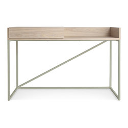 Blu Dot - Blu Dot Swish Console Desk, White Ash / Matte Slate - We dont know exactly what it is, but it is whatever you need it to be. Sliding top to conceal or reveal more work space. Pencil and/or junk drawer. Cord management slot. Console, mini buffet, home office headquarters. Voila!