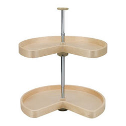 "Rev-A-Shelf - Rev-A-Shelf LD-4BW-472-32-1 32"" Kidney Banded Wood Lazy Susan 2-Shelf Set - In the market for a corner lazy susan? Look no further than this 32"" Kidney Banded Wood 2 Shelf Set by Rev-A-Shelf. Widely recognized as the most economical wood Lazy Susan in the industry, each shelf is made of 1/2"" maple plywood that goes through a multi-step finish to provide a soft, smooth, natural finish. In addition, this two shelf set is Phase II, CARB compliant, and manufactured in the USA. The lazy susan shelves feature 2"" laminated banded wood rims, doweled butt joints, and independent tray rotation. A beautiful chrome plated telescoping 1"" diameter shaft and almond polymer hubs are included, and the tray collars have a detent to orient the tray with your cabinet opening. A beautiful Lazy Susan not only looks great, it also provides great storage and easy access to pots, pans, food, spices, and more. If you are looking to optimize kitchen efficiency, this Rev-A-Shelf LD-4BW-472-32-1 Lazy Susan Set is a must. Physical Specifications: 32"" diameter. The telescoping chrome plated post accommodates 26""-31"" inner cabinet heights. Please make sure you have a minimum cabinet opening of at least 26"" H to ensure a proper fit."