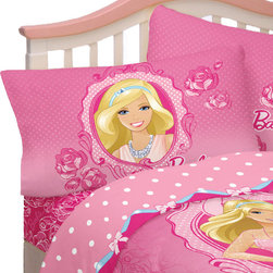Franco Manufacturing Company INC - Barbie Twin Sheet Set Walking on Roses Bedding Accessories - FEATURES:
