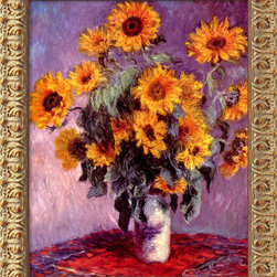 Amanti Art - Sunflowers, 1881  by Claude Monet - What's old is new again. You've probably seen renderings of this Impressionist masterpiece before, but maybe none as accurately reproduced as this one. The colors pop on textured canvas. Even the frame is handsome, made so by modern acid washes and finishes.