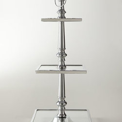 """Horchow - Three-Tiered Server - Clean-lined three-tiered server can be used as a centerpiece to show off desserts or on a buffet for serving canapes. Made of polished aluminum and glass. 16""""Sq. x 17.75""""T. Imported."""