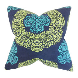 """The Pillow Collection - Ilona Geometric Pillow, Turquoise 18"""" x 18"""" - Provide a beautiful statement piece to your living space with this accent pillow."""