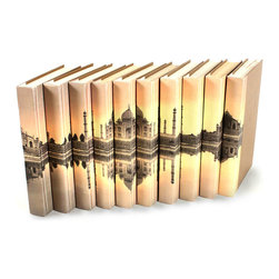 Image Collection Books - Taj Mahal - Set of 10 - You can, indeed, judge a book by its cover. A visually striking set of decorative tomes, the Image Collection Books - Taj Mahal - Set of 10 make an impressive graphic statement when placed upon a shelf in an eclectic great room, a window ledge in a home office, a fireplace mantel embellished with objects d'art, or glass-fronted armoire in a personal library.