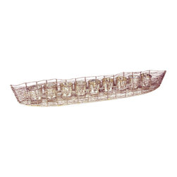 "Rojo16 - Iron Boat  Mercury Glass, Silver/Gold Leaf, Large(9 Glass) - Inspired by the Sublime beauty of Spain's coast, Rojo 16 Costa Brava Iron Boat will make your style shine, This piece combines detail in design and Mediterranean flare for Everyday living. Consist of 25 votives glasses that serves as holder for Candle (1.5""L x 1.5""W) of your choice. Available in four sizes."