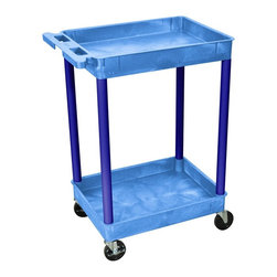 Luxor Furniture - 18 in. 2-Tier Utility Cart w Casters in Blue - Four heavy duty 4 in. casters, two with brake. Two shelves. Stain, scratch, dent and rust resistant. Retaining lip around back and sides of flat shelves. Push handle molded into top shelf. Reinforced with two aluminum bars. Made of high density polyethylene structural foam molded plastic. Made in USA. Clearance between shelves: 26 in.. Tub shelf: 2.75 in. D. Overall: 24 in. L x 18 in. W x 37.5 in. H. Warranty. Assembly Instructions