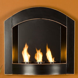 """Wildon Home � - Cordova Wall Mounted Gel Fuel Fireplace - Features: -Fits well with both contemporary and transitional styling.-Holds three cans of gel fuel.-Copper edges revealed from distressing.-Perfect for a covered patio.-Fiberglass insulation against wall.-Each can lasts up to 3 hrs on a single burn.-Gel fuel must be purchased separately.-Allows candles to be placed on the gel fuel can opening with the included snuffer cover.-Metal construction.-Black finish.-Distressed finish.-Puts off up to 3000 BTU.-Wall Mounted Fireplace: Yes.Specifications: -ISTA 3A certified.Dimensions: -Overall Height - Top to Bottom: 25.75"""".-Overall Width - Side to Side: 27"""".-Overall Depth - Front to Back: 6"""".-Overall Product Weight: 20 lbs.Warranty: -Manufacturer provides 1 year part warranty."""