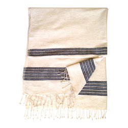 Woven Promises - Soft, Absorbent Handmade 100% Ethiopian Cotton Zarima Towels, Grey with Black St - Our fouta style large bath towels have a simple, yet sophisticated style. They are extremely versatile and can be used for the bathroom, bedroom (as a throw), for the beach (sand shakes right off), as a picnic blanket, a sarong, a shawl, yoga mat, small tablecloth and more. They are wonderful for the home and essential for travel. They wash and dry beautifully and quickly, and soften with each wash.