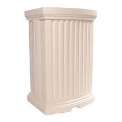 Mayne Inc. - Madison Rain Catcher, White - Conserve with style!  Beautifully detailed, collect rain from your downspout to water your flowers and save money on your water bill!  Complete with a planter top to display beautiful flowers or plants. Includes 3ft overflow hose and 4ft garden hose with shut-off valve. Made from high quality polyethylene with built-in UV inhibitors for long lasting protection from the elements, black finish.   Low maintenance product that won't fade or yellow. No painting or staining required.  Product ships in 1 box.  Downspout connector not included.  40 gallon water capacity. 15-year limited warranty.