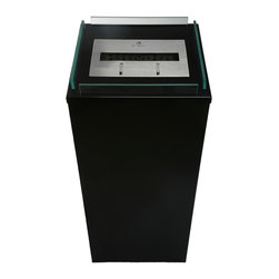 Bio-Blaze - Bio Blaze Outdoor Column Fireplace - Black - Includes long lighter, funnel, wheels and extinguisher. One bloc burner. Four wheels. Burns with bio ethanol. Window protection. Does not require flue and electricity. Does not release smoke. Heat resistant upto 400°C. Burner: 2 L - Adjustable flame. Autonomy: 6 - 8 hours. Consumption: 0.35 L/H. Heating capacity: 2.8 KW. 15.75 in. L x 15.75 in. W x 50 in. H (70.55 lbs.). Security and Assembly InstructionsBio-Blaze offers you a collection of innovative fireplaces. These fireplaces functions on bio ethanol. They do not require any installation, nor they release any smoke or smell. The design of the Bio Blaze fireplace is specifically created for your interior and exterior decoration. They were imagined to make your interior more cordial. In an apartment, in a house or a loft, these fireplaces are easy to attach to the wall or to place in open spaces, both for interior and exterior use. Burns exclusively with Bio-Blaze high quality bio ethanol. Release mainly H2O and very little of CO2, do not release any smoke. Please read assembly and manual instructions before using your fireplace. Do not place next to curtains or inflammable products. Do not move the fireplace while burning. Fireplace mounted on a wall should remain fixed to the wall. Do not touch burner with bare hands during and after combustion, wait until the bloc is not hot. All products and burners are patented, tested and verified by SGS and TUV.