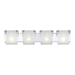 Z-Lite - Z-Lite Zephyr Bathroom / Vanity Light X-V4-961 - Bent frosted glass shades are hung over chrome hardware on this four light vanity to create a modern touch for any room.