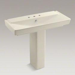 """KOHLER - KOHLER R�ve(R) 39"""" pedestal bathroom sink with 8"""" widespread faucet holes - With geometric lines and a generous 39-inch width, the R�ve pedestal sink makes a striking focal point for your bathroom. This deep, V-shaped basin and rectangular pedestal yield a sink that is both practical and brimming with dramatic style."""