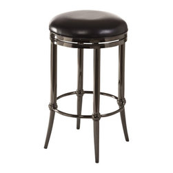 "Hillsdale - Hillsdale Cadman Backless 26"" Counter Stool in Black Nickel - Hillsdale - Bar Stools - 5332826 - Sleek and sophisticated the Cadman Stool packs a lot of style punch into a backless design. Featuring a black nickel base and a 360 degree swivel seat in chic black vinyl the Cadman is a contemporary creation without being over the top. The Cadman is available in bar and counter heights. Some assembly required."