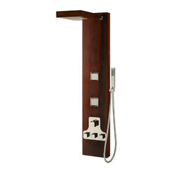 Moria Thermostatic Teak Shower Panel - Bask in the beauty of richly colored wood and multiple showering options with the expansive Moria Thermostatic Shower Panel. Made of Iroko, a durable hardwood.