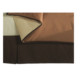 """Mystic Valley - Mystic Valley Traders Cafe Cinnamon - Bed Skirt, Queen - The Cafe Cinnamon bed skirt is fashioned from the deep Cocoa fabric; it is unlined and tailored with a 16"""" drop."""