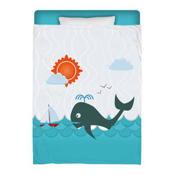 "Surfer Bedding - Eco Friendly Made In USA ""Whale Watching"" Premium Twin Duvet Cover - ""Whale Watching"" Surfer Bedding from our Beach Collection Is Premium Quality and Made In The USA! Soft Plush Micro Suede is used for top printed side, bottom is 320 count sateen cotton in white.  We use Eco Friendly water based dyes that won't fade and do not alter fabric texture! Twin Size Surfer Bedding measures approx. 68""x 90""."