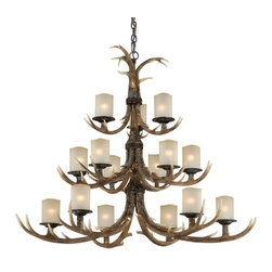 Vaxcel Lighting - Vaxcel Lighting Yoho Transitional Chandelier X-9200H - Three tiers of lights housed in modern cylindrical diffusers adds a unique flair to the antler-inspired frame of this Vaxcel Lighting chandelier. From the Yoho Collection, this transitional chandelier pairs its cr�me cognac glass shades with a Black Walnut finish that adds a realistic touch.